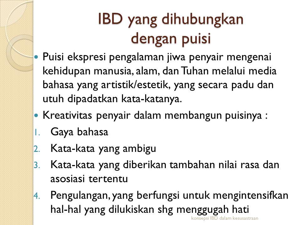 Alasan-alasan yang mendasari penyajian puisi dalam IBD 1.