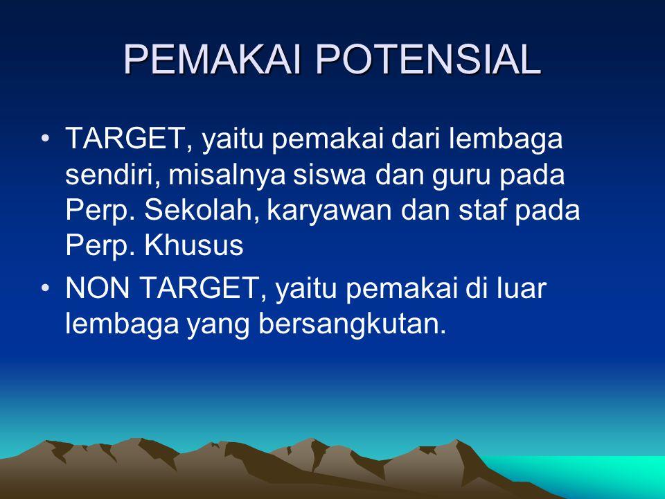 PEMAKAI POTENSIAL TARGET, yaitu pemakai dari lembaga sendiri, misalnya siswa dan guru pada Perp.
