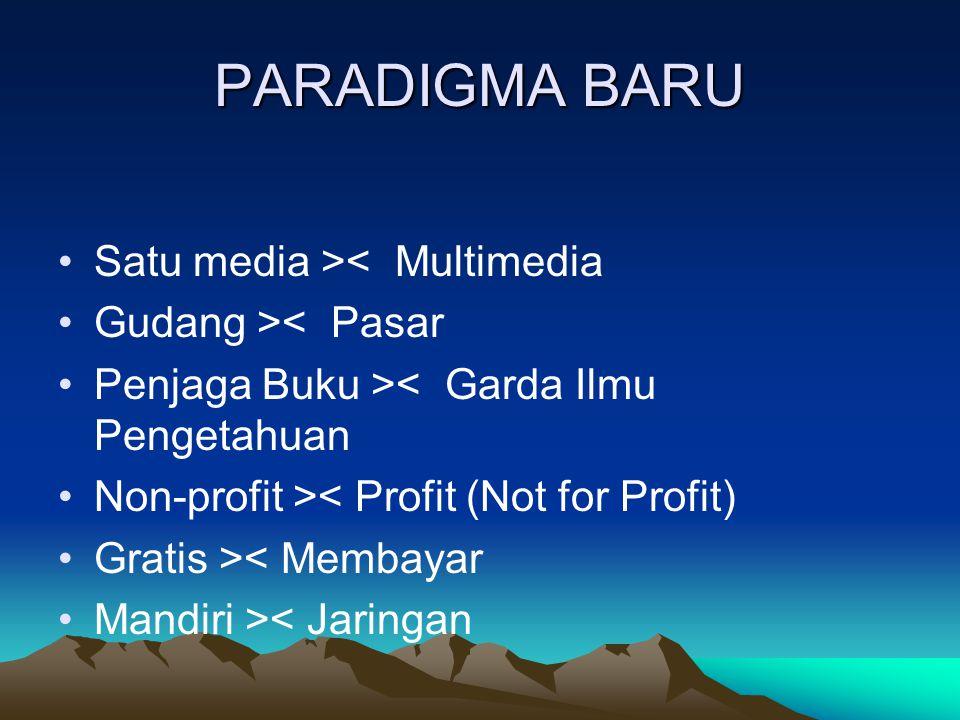 PARADIGMA BARU Satu media >< Multimedia Gudang >< Pasar Penjaga Buku >< Garda Ilmu Pengetahuan Non-profit >< Profit (Not for Profit) Gratis >< Membayar Mandiri >< Jaringan