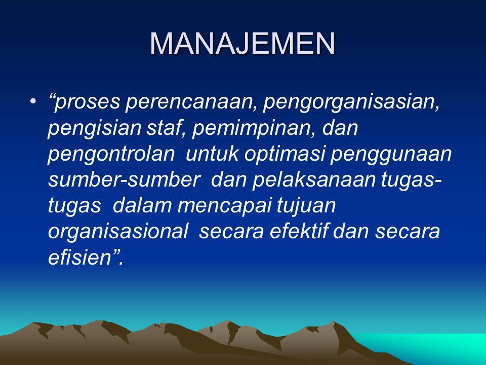 """MANAJEMEN """"proses perencanaan, pengorganisasian, pengisian staf, pemimpinan, dan pengontrolan untuk optimasi penggunaan sumber-sumber dan pelaksanaan"""