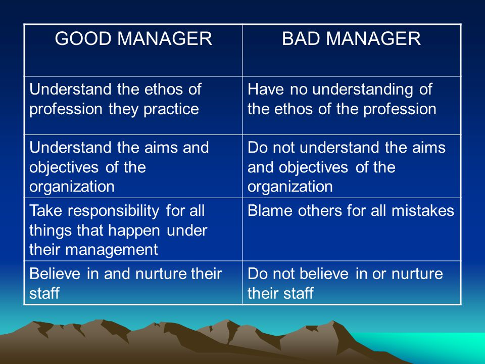 GOOD MANAGERBAD MANAGER Understand the ethos of profession they practice Have no understanding of the ethos of the profession Understand the aims and