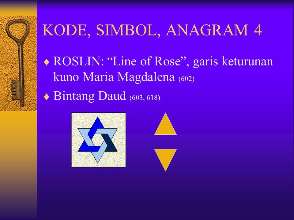 """KODE, SIMBOL, ANAGRAM 4  ROSLIN: """"Line of Rose"""", garis keturunan kuno Maria Magdalena (602)  Bintang Daud (603, 618)"""