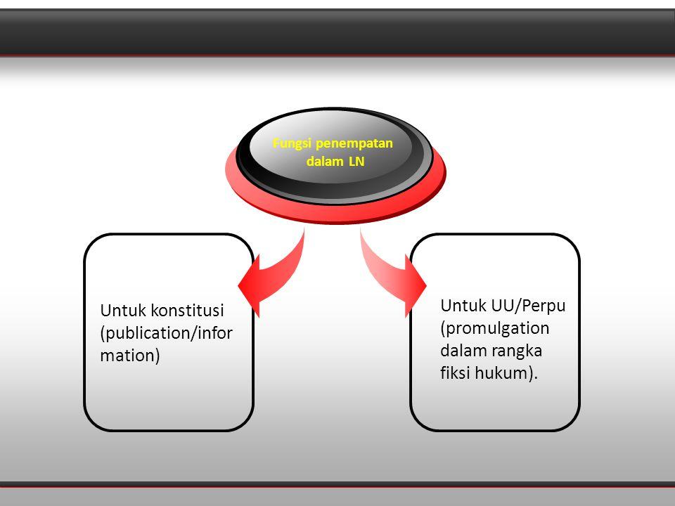 Diagram Untuk konstitusi (publication/infor mation) Fungsi penempatan dalam LN Untuk UU/Perpu (promulgation dalam rangka fiksi hukum).