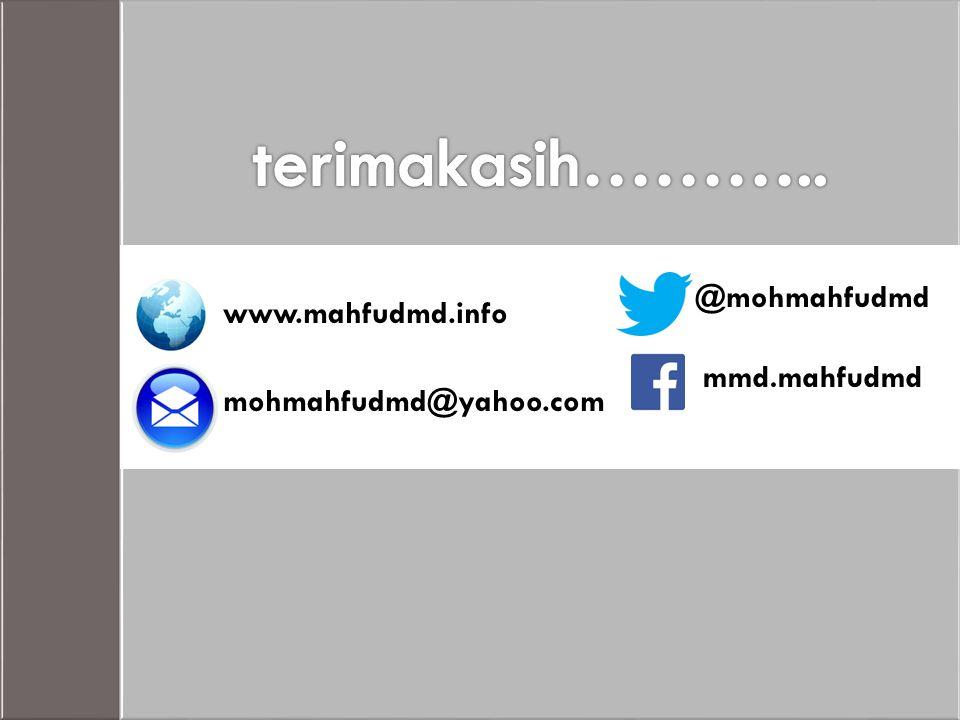 www.mahfudmd.info mohmahfudmd@yahoo.com @mohmahfudmd mmd.mahfudmd