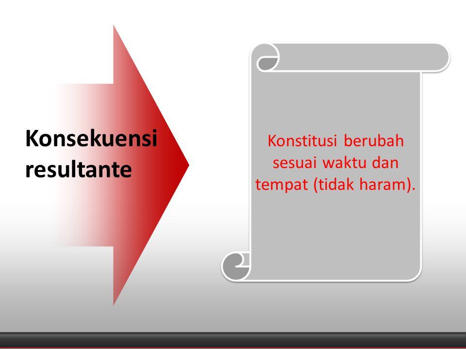 Diagram Konsekuensi resultante Konstitusi berubah sesuai waktu dan tempat (tidak haram).