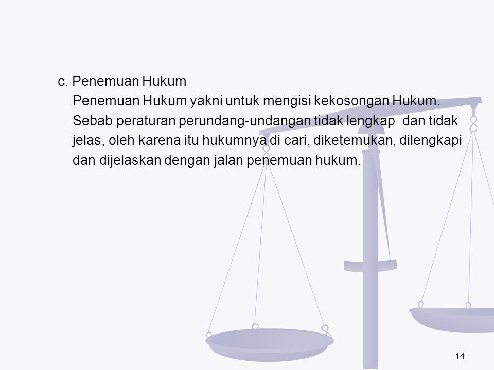 c. Penemuan Hukum Penemuan Hukum yakni untuk mengisi kekosongan Hukum. Sebab peraturan perundang-undangan tidak lengkap dan tidak jelas, oleh karena i
