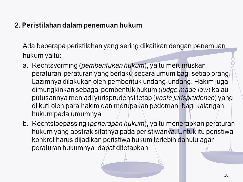 2. Peristilahan dalam penemuan hukum Ada beberapa peristilahan yang sering dikaitkan dengan penemuan hukum yaitu: a.Rechtsvorming (pembentukan hukum),