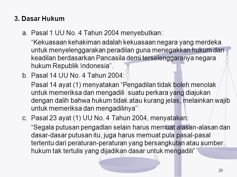 "3. Dasar Hukum a. Pasal 1 UU No. 4 Tahun 2004 menyebutkan: ""Kekuasaan kehakiman adalah kekuasaan negara yang merdeka untuk menyelenggarakan peradilan"