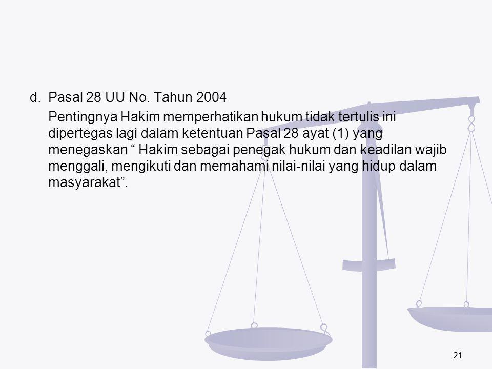 d. Pasal 28 UU No. Tahun 2004 Pentingnya Hakim memperhatikan hukum tidak tertulis ini dipertegas lagi dalam ketentuan Pasal 28 ayat (1) yang menegaska