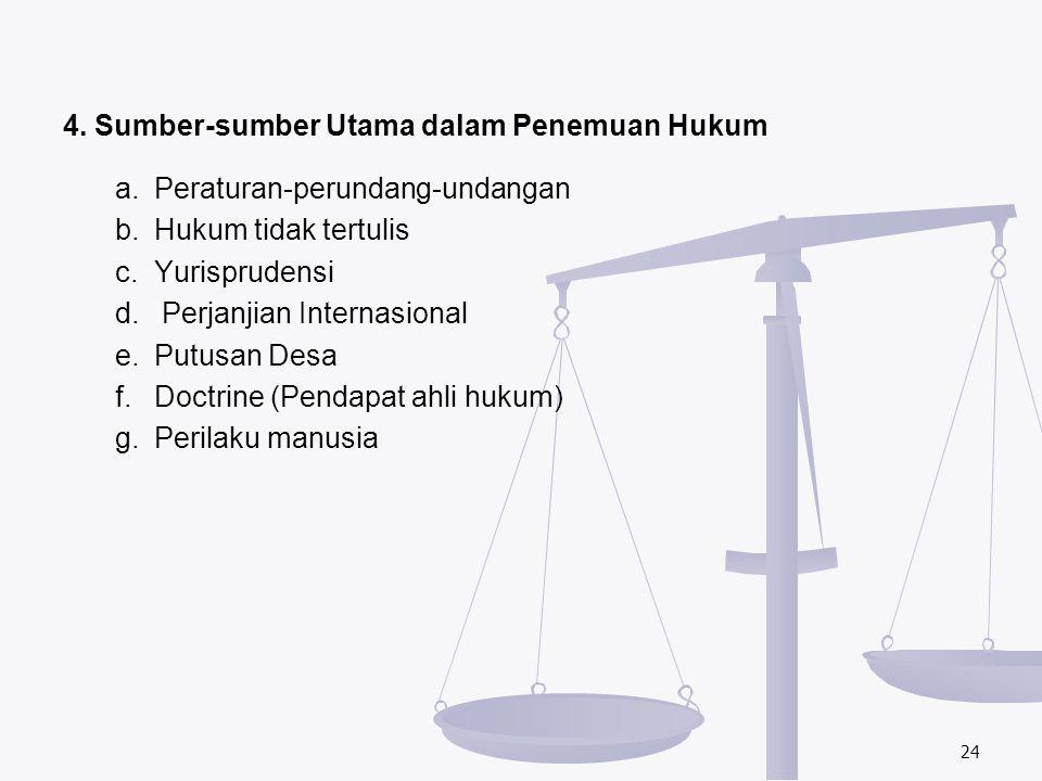 4. Sumber-sumber Utama dalam Penemuan Hukum a. Peraturan-perundang-undangan b.Hukum tidak tertulis c.Yurisprudensi d. Perjanjian Internasional e.Putus