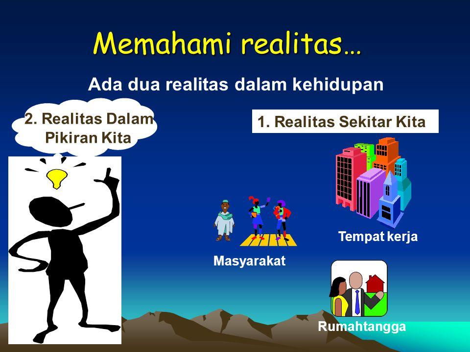 Memahami realitas… Ada dua realitas dalam kehidupan 1. Realitas Sekitar Kita Rumahtangga Masyarakat Tempat kerja 2. Realitas Dalam Pikiran Kita