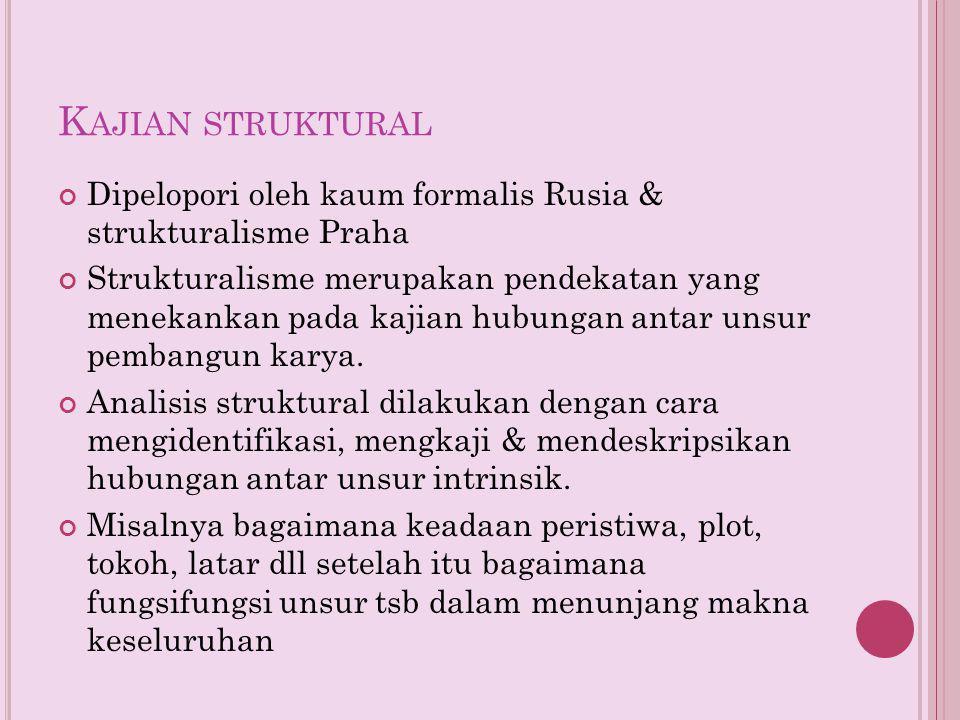 K AJIAN STRUKTURAL Dipelopori oleh kaum formalis Rusia & strukturalisme Praha Strukturalisme merupakan pendekatan yang menekankan pada kajian hubungan