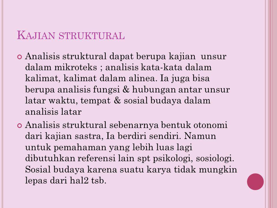 K AJIAN STRUKTURAL Analisis struktural dapat berupa kajian unsur dalam mikroteks ; analisis kata-kata dalam kalimat, kalimat dalam alinea. Ia juga bis