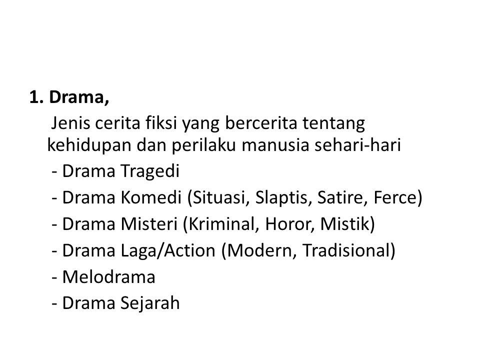 1. Drama, Jenis cerita fiksi yang bercerita tentang kehidupan dan perilaku manusia sehari-hari - Drama Tragedi - Drama Komedi (Situasi, Slaptis, Satir