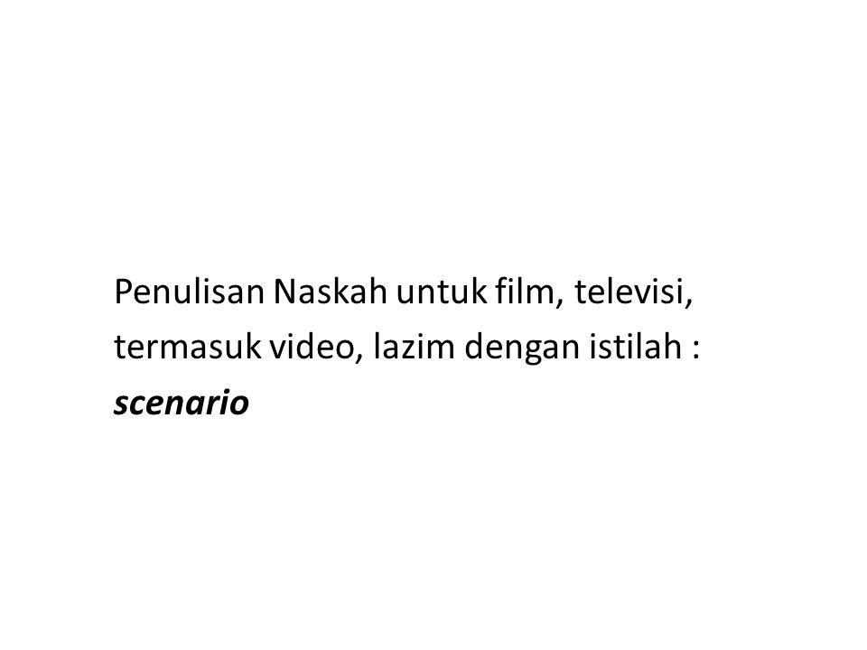 Skenario, merupakan bentuk tertulis dari gagasan atau ide yang menyangkut penggabungan antara gambar dan suara, dimaksudkan sebagai pedoman dalam pembuatan film, sinetron atau program televisi
