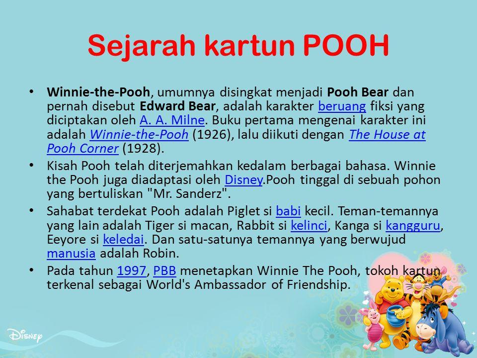 Sejarah kartun POOH Winnie-the-Pooh, umumnya disingkat menjadi Pooh Bear dan pernah disebut Edward Bear, adalah karakter beruang fiksi yang diciptakan