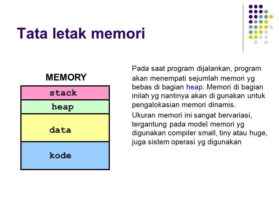Tata letak memori Pada saat program dijalankan, program akan menempati sejumlah memori yg bebas di bagian heap. Memori di bagian inilah yg nantinya ak