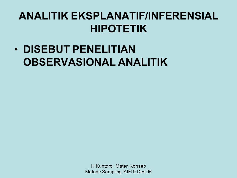H Kuntoro : Materi Konsep Metode Sampling IAIFI 9 Des 06 ANALITIK EKSPLANATIF/INFERENSIAL HIPOTETIK DISEBUT PENELITIAN OBSERVASIONAL ANALITIK