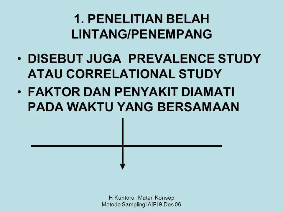 H Kuntoro : Materi Konsep Metode Sampling IAIFI 9 Des 06 1. PENELITIAN BELAH LINTANG/PENEMPANG DISEBUT JUGA PREVALENCE STUDY ATAU CORRELATIONAL STUDY