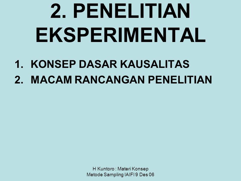 H Kuntoro : Materi Konsep Metode Sampling IAIFI 9 Des 06 2. PENELITIAN EKSPERIMENTAL 1.KONSEP DASAR KAUSALITAS 2.MACAM RANCANGAN PENELITIAN