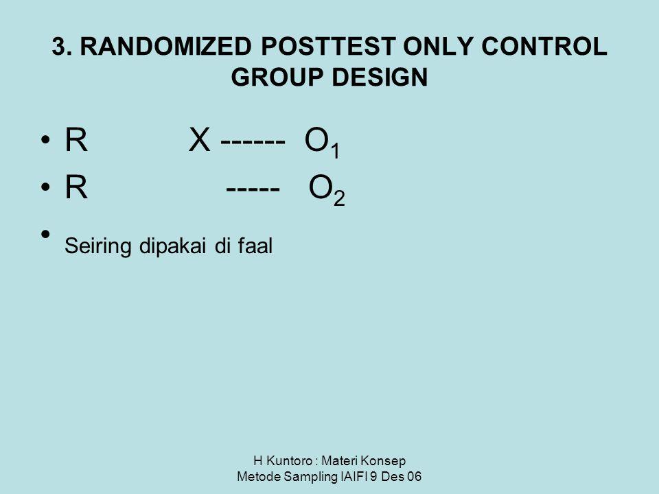 H Kuntoro : Materi Konsep Metode Sampling IAIFI 9 Des 06 3. RANDOMIZED POSTTEST ONLY CONTROL GROUP DESIGN R X ------ O 1 R ----- O 2 Seiring dipakai d