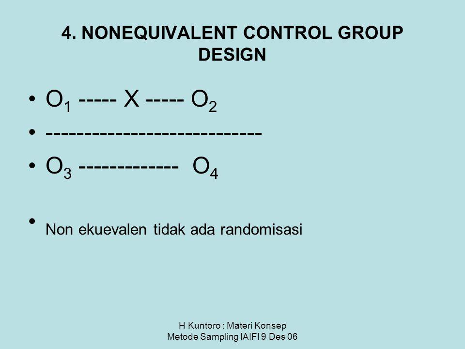 H Kuntoro : Materi Konsep Metode Sampling IAIFI 9 Des 06 4. NONEQUIVALENT CONTROL GROUP DESIGN O 1 ----- X ----- O 2 ---------------------------- O 3