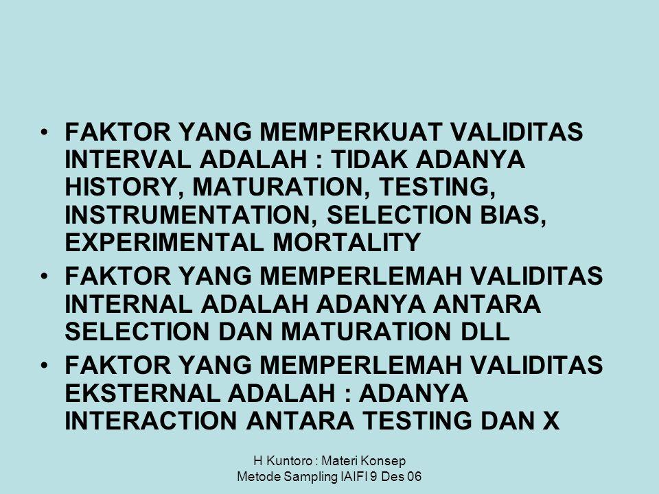 H Kuntoro : Materi Konsep Metode Sampling IAIFI 9 Des 06 FAKTOR YANG MEMPERKUAT VALIDITAS INTERVAL ADALAH : TIDAK ADANYA HISTORY, MATURATION, TESTING,