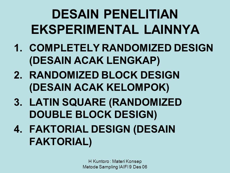 H Kuntoro : Materi Konsep Metode Sampling IAIFI 9 Des 06 DESAIN PENELITIAN EKSPERIMENTAL LAINNYA 1.COMPLETELY RANDOMIZED DESIGN (DESAIN ACAK LENGKAP)