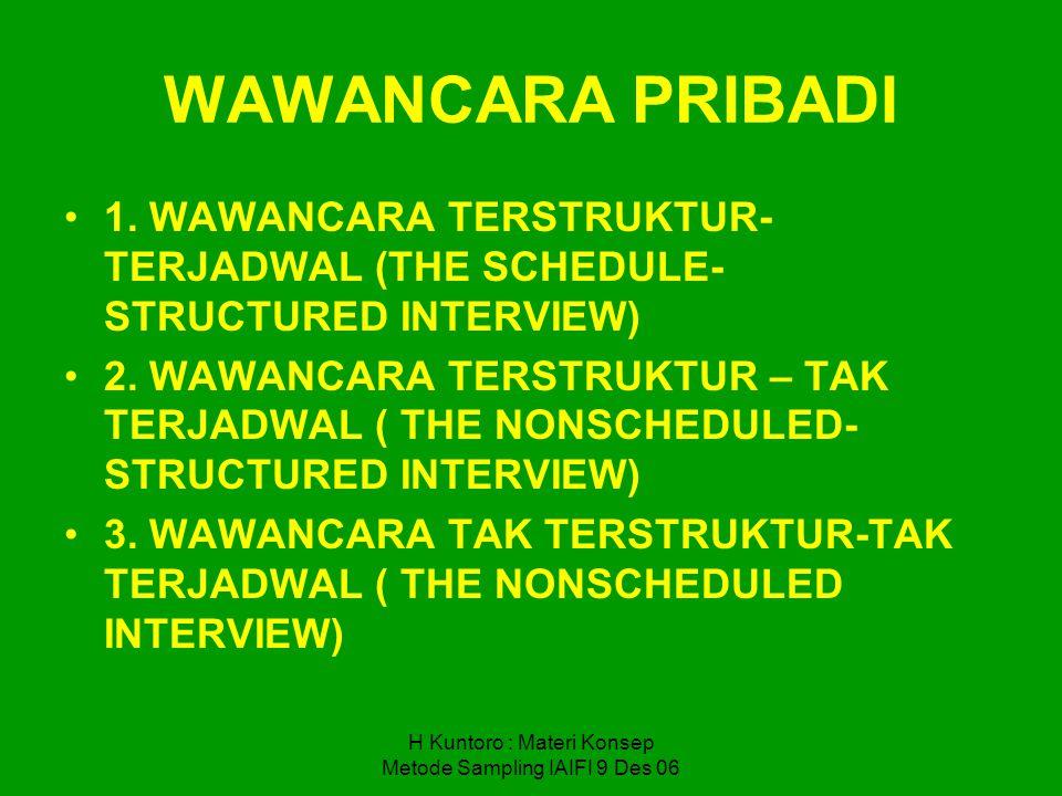 H Kuntoro : Materi Konsep Metode Sampling IAIFI 9 Des 06 WAWANCARA PRIBADI 1. WAWANCARA TERSTRUKTUR- TERJADWAL (THE SCHEDULE- STRUCTURED INTERVIEW) 2.