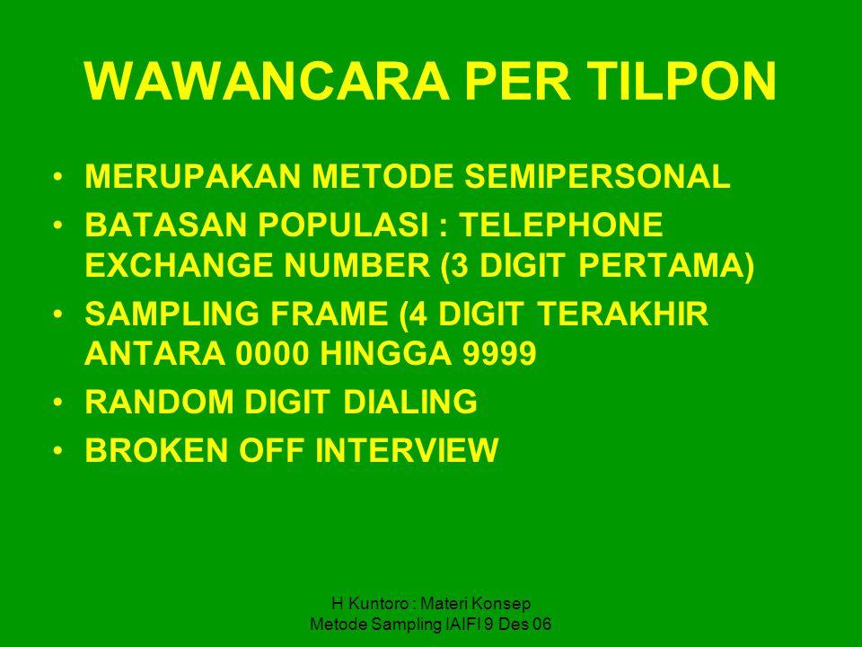 H Kuntoro : Materi Konsep Metode Sampling IAIFI 9 Des 06 WAWANCARA PER TILPON MERUPAKAN METODE SEMIPERSONAL BATASAN POPULASI : TELEPHONE EXCHANGE NUMB