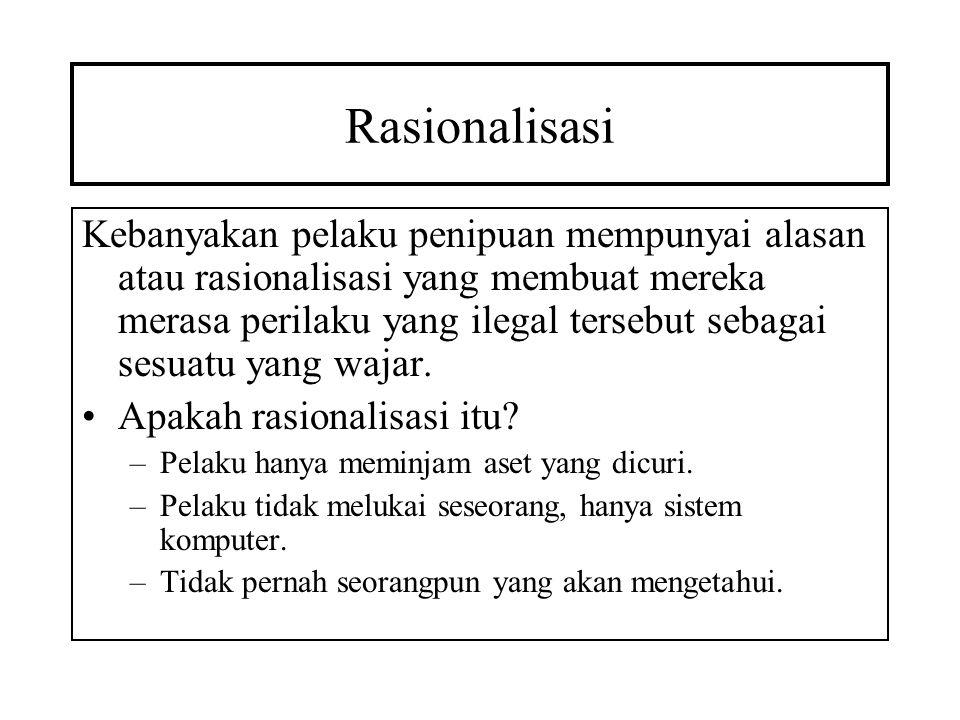 Rasionalisasi Kebanyakan pelaku penipuan mempunyai alasan atau rasionalisasi yang membuat mereka merasa perilaku yang ilegal tersebut sebagai sesuatu