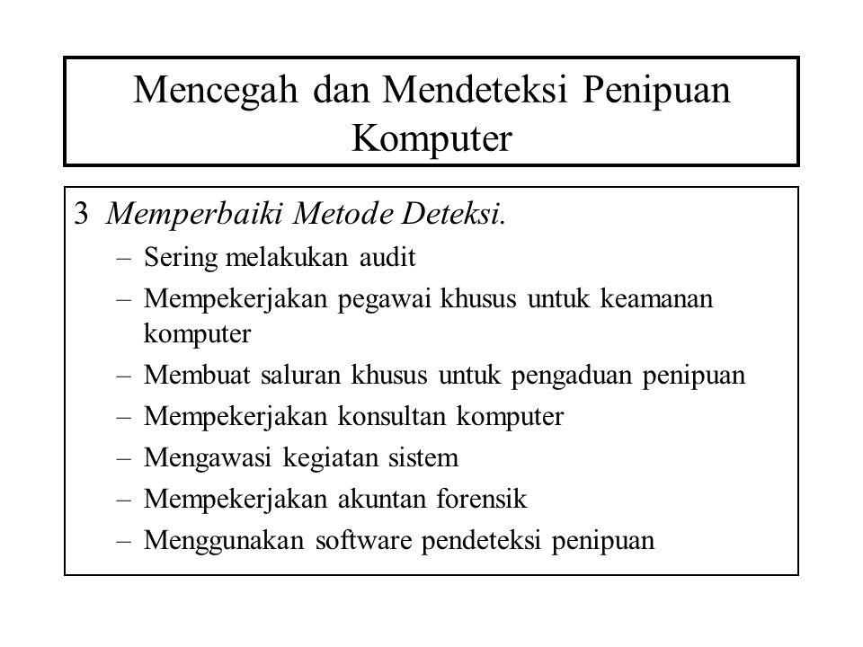 Mencegah dan Mendeteksi Penipuan Komputer 3Memperbaiki Metode Deteksi. –Sering melakukan audit –Mempekerjakan pegawai khusus untuk keamanan komputer –