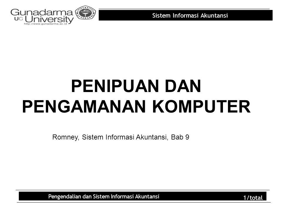 Sistem Informasi Akuntansi Pengendalian dan Sistem Informasi Akuntansi 2/total Outline PROSES PENIPUAN SEBAB-SEBAB TERJADINYA PENIPUAN PENIPUAN KOMPUTER MENCEGAH DAN MENDETEKSI PENIPUAN KOMPUTER