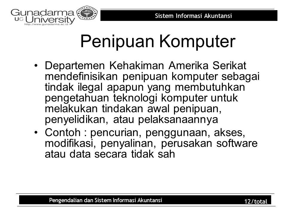 Sistem Informasi Akuntansi Pengendalian dan Sistem Informasi Akuntansi 12/total Penipuan Komputer Departemen Kehakiman Amerika Serikat mendefinisikan