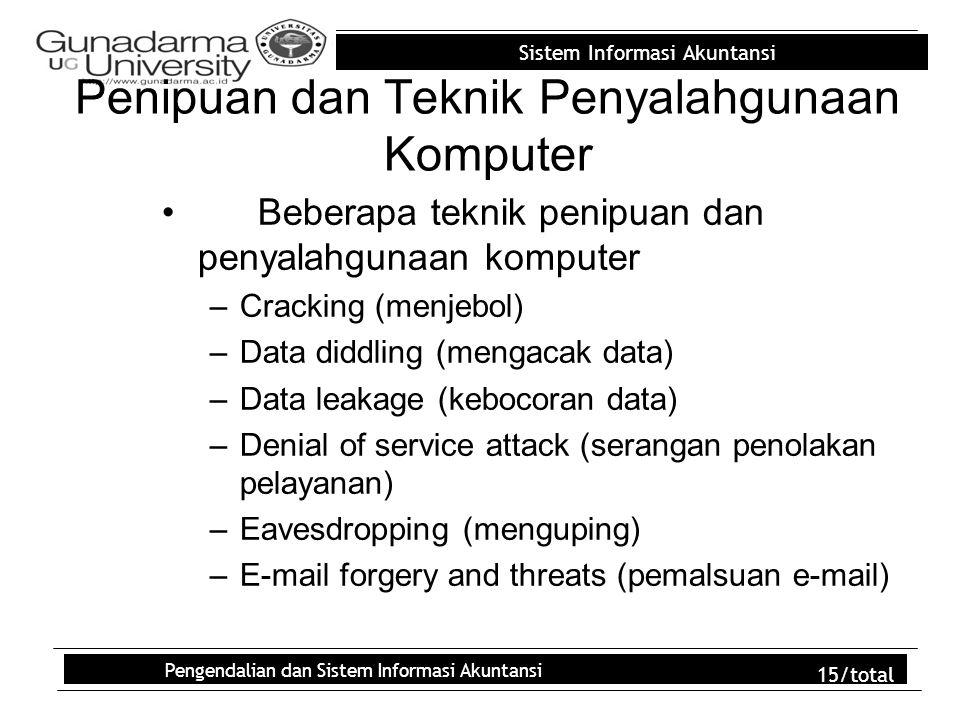 Sistem Informasi Akuntansi Pengendalian dan Sistem Informasi Akuntansi 15/total Penipuan dan Teknik Penyalahgunaan Komputer Beberapa teknik penipuan d