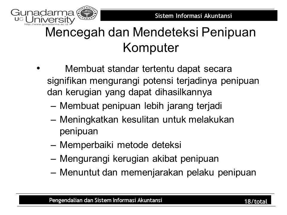 Sistem Informasi Akuntansi Pengendalian dan Sistem Informasi Akuntansi 18/total Mencegah dan Mendeteksi Penipuan Komputer Membuat standar tertentu dap