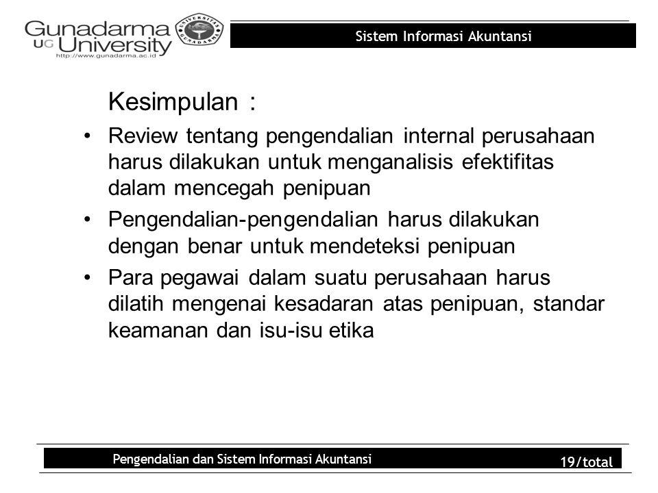 Sistem Informasi Akuntansi Pengendalian dan Sistem Informasi Akuntansi 19/total Kesimpulan : Review tentang pengendalian internal perusahaan harus dil