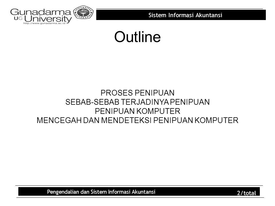 Sistem Informasi Akuntansi Pengendalian dan Sistem Informasi Akuntansi 2/total Outline PROSES PENIPUAN SEBAB-SEBAB TERJADINYA PENIPUAN PENIPUAN KOMPUT