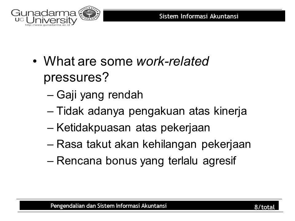 Sistem Informasi Akuntansi Pengendalian dan Sistem Informasi Akuntansi 8/total What are some work-related pressures? –Gaji yang rendah –Tidak adanya p