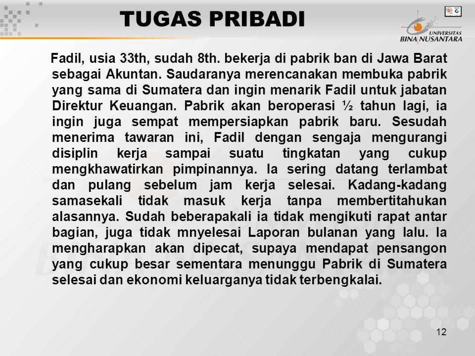12 TUGAS PRIBADI Fadil, usia 33th, sudah 8th. bekerja di pabrik ban di Jawa Barat sebagai Akuntan. Saudaranya merencanakan membuka pabrik yang sama di