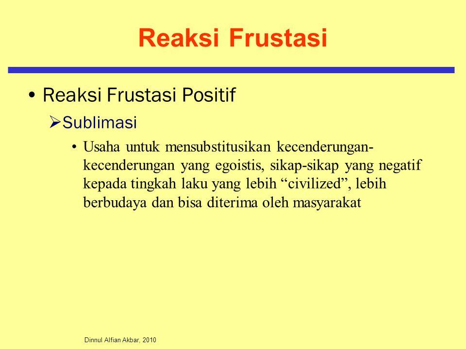 Dinnul Alfian Akbar, 2010 Reaksi Frustasi Reaksi Frustasi Positif  Sublimasi Usaha untuk mensubstitusikan kecenderungan- kecenderungan yang egoistis, sikap-sikap yang negatif kepada tingkah laku yang lebih civilized , lebih berbudaya dan bisa diterima oleh masyarakat
