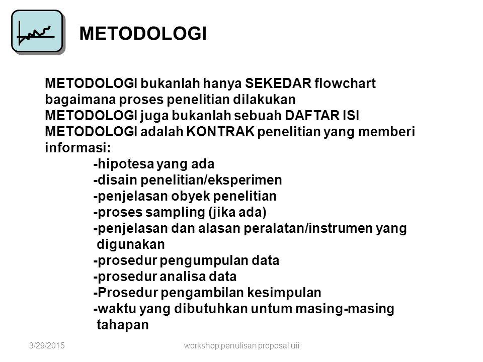 METODOLOGI METODOLOGI bukanlah hanya SEKEDAR flowchart bagaimana proses penelitian dilakukan METODOLOGI juga bukanlah sebuah DAFTAR ISI METODOLOGI ada