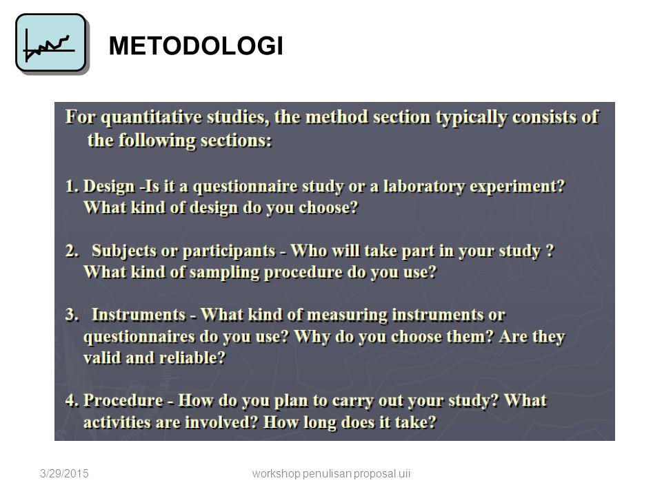 METODOLOGI 3/29/2015workshop penulisan proposal uii