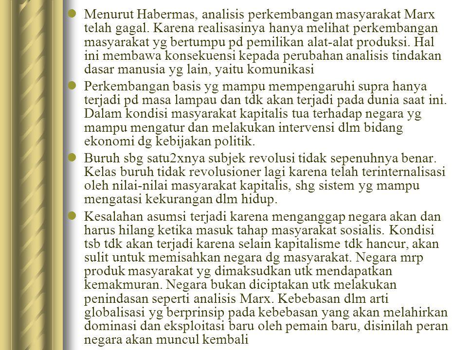 Bagi Habermas, tindakan dasar manusia bukan hny kerja akan tetapi juga komunikasi (bahasa).