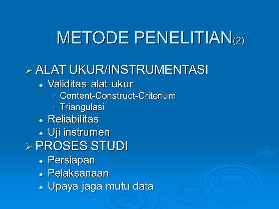 METODE PENELITIAN (2)  ALAT UKUR/INSTRUMENTASI Validitas alat ukur Validitas alat ukur Content-Construct-CriteriumContent-Construct-Criterium Triangu