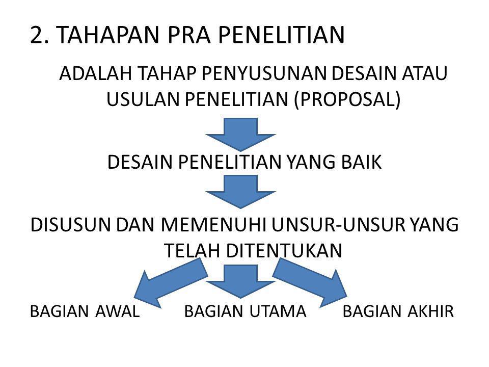 2. TAHAPAN PRA PENELITIAN ADALAH TAHAP PENYUSUNAN DESAIN ATAU USULAN PENELITIAN (PROPOSAL) DESAIN PENELITIAN YANG BAIK DISUSUN DAN MEMENUHI UNSUR-UNSU