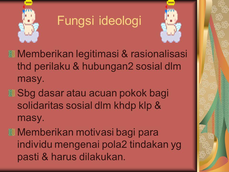 Fungsi ideologi Memberikan legitimasi & rasionalisasi thd perilaku & hubungan2 sosial dlm masy. Sbg dasar atau acuan pokok bagi solidaritas sosial dlm