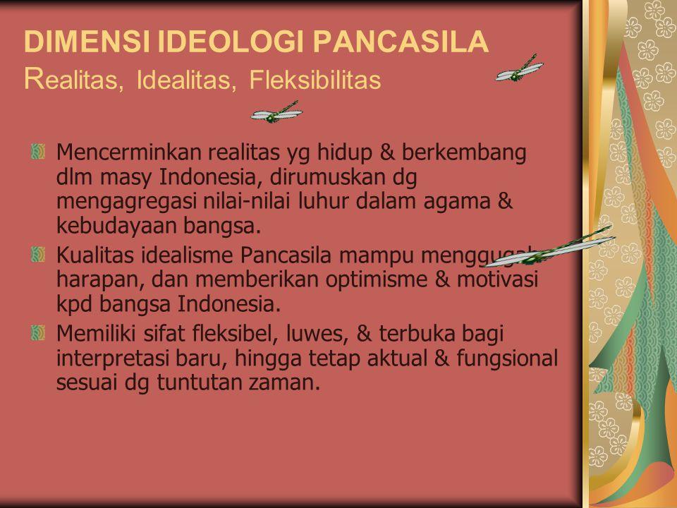 DIMENSI IDEOLOGI PANCASILA R ealitas, Idealitas, Fleksibilitas Mencerminkan realitas yg hidup & berkembang dlm masy Indonesia, dirumuskan dg mengagreg