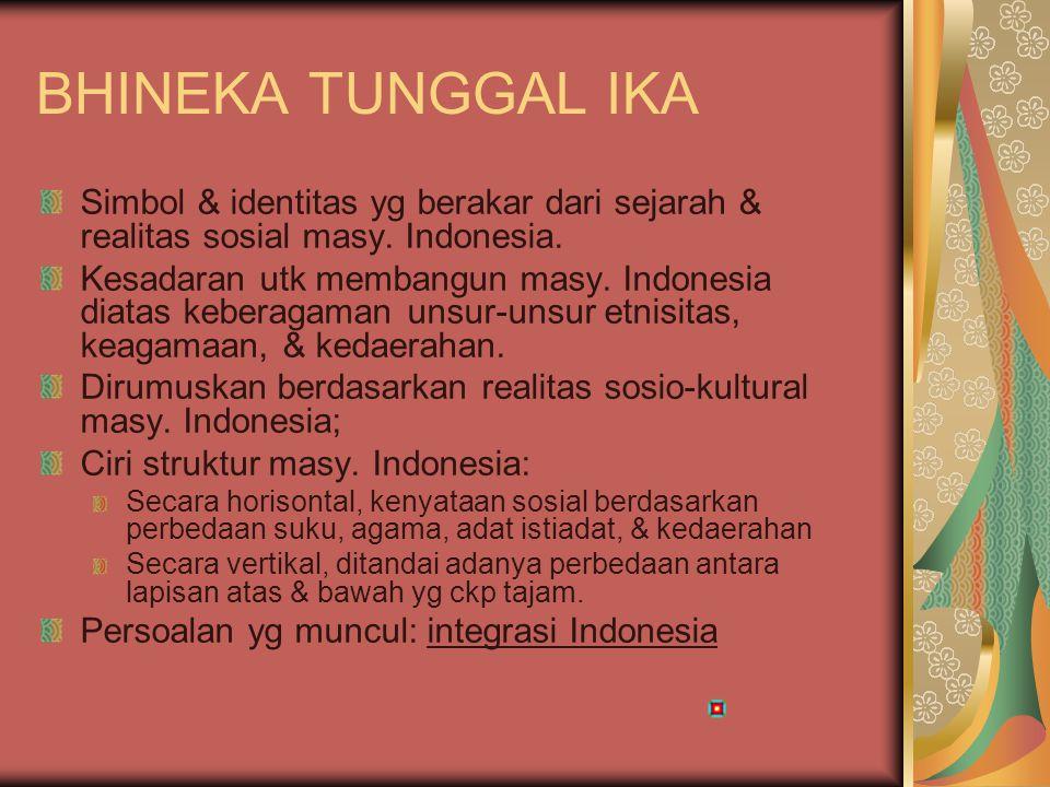 INTEGRASI INDONESIA Persoalan yg muncul: integrasi Indonesia Rintangan Integrasi bangsa Indonesia: Pembelahan horisontal masy yg berakar dari perbedaan suku, agama, geografi Pembelahan vertikal, celah perbedaan antara elite & massa; latar belakang pendidikan masy; ketradisionalan Solusi: meningkatkan kesadaran ttg identitas nasional bangsa Indonesia.