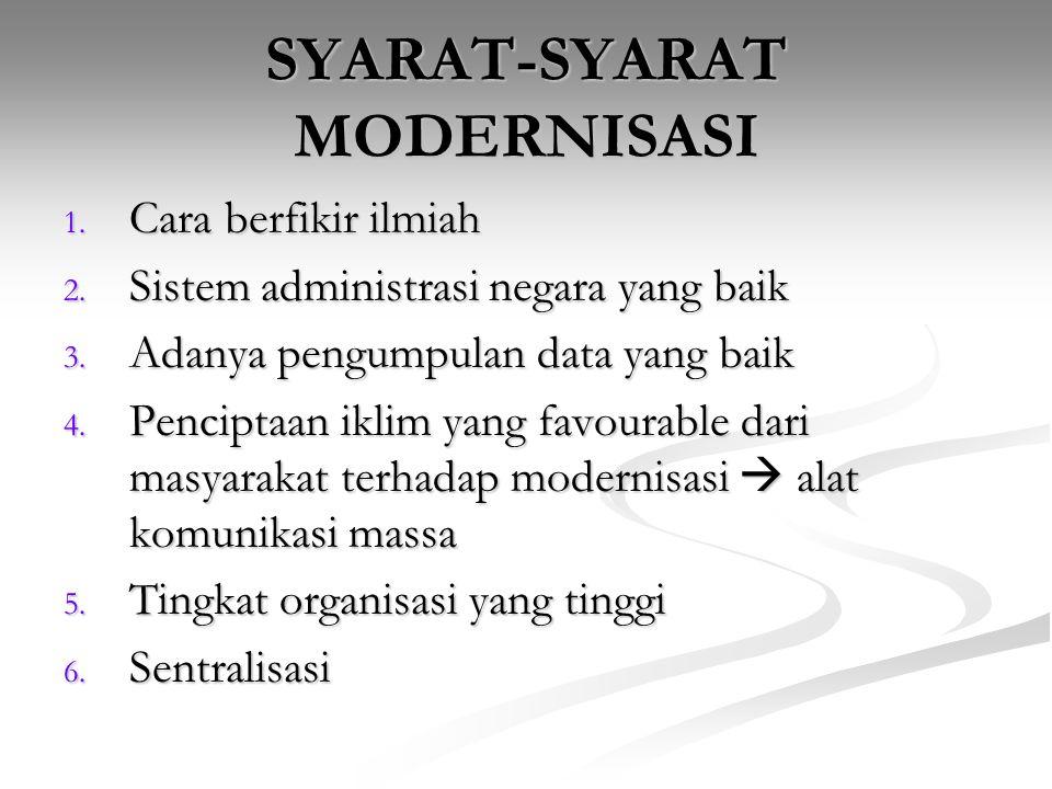 CIRI-CIRI MODERNISASI 1.Tingkat pertumbuhan ekonomi yang terus berlanjut 2.